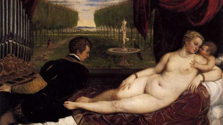 La donna ad una dimensione Dipinto Tiziano, Venere con organista e Cupido