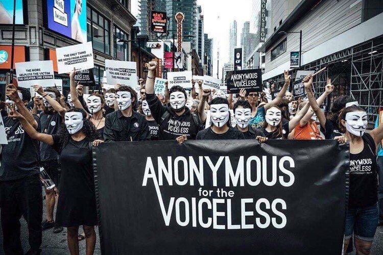 L'associazione Anonymous for the Voiceless scende in piazza per manifestare per i diritti degli animali.